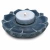 Bougeoir/brûle encens lotus en pierre ollaire gris