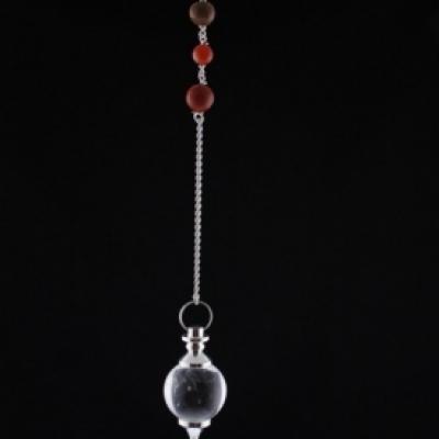 Pendule Cristal de Rochel avec chaine 7 chakras 24 gr