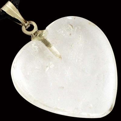 Pendentif coeur Cristal de Roche 15 mm à 20 mm
