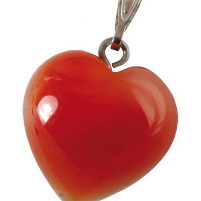 Pendentif coeur Cornaline 15 mm