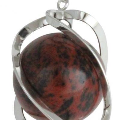 Pendentif Spirale Obsidienne Acajou