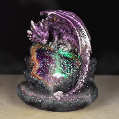 Brûleur d'Encens LED à Reflux - Cave de Cristal Dragon Violet