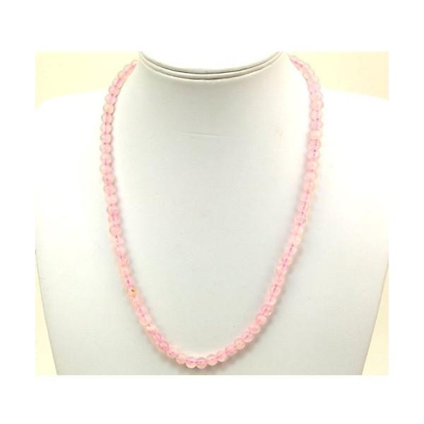 Collier quartz rose pierres rondes