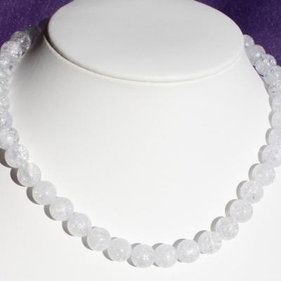 Collier Cristal de roche craquelé  10 mm