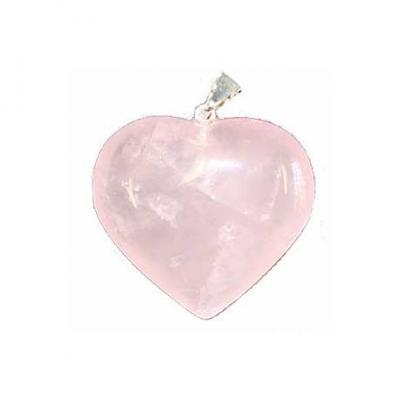 Pendentif Coeur Quartz Rose 20 mm