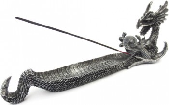 Porte encens dragon argenté