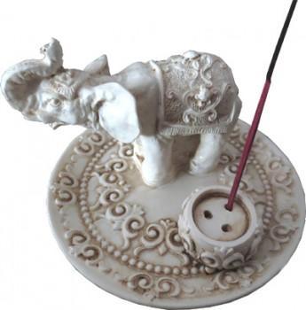 Porte Encens - Éléphant - Blanc