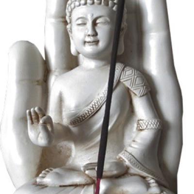 Porte Encens - Bouddha assis sur main