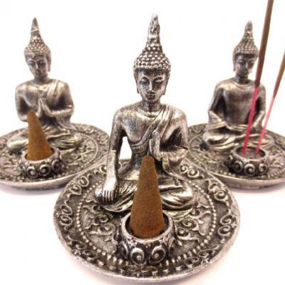 Porte Encens Bouddha Thaï argenté