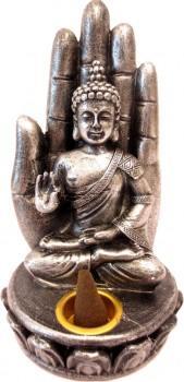 Porte Encens - Bouddha assis sur main argenté