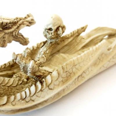 Porte Encens Dragon blanc et crâne